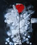 rosa rossa dipinto a olio su tela della collezione Dipintinmoivmento