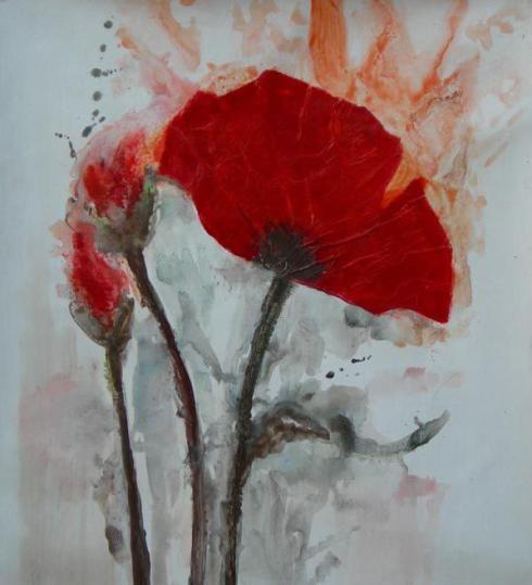 garofano rosso dipinto a olio su tela della Galleria dipintinmovimento F105