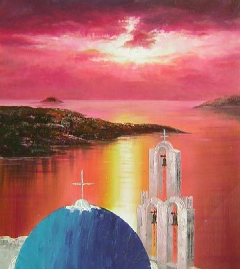 Tramonto Mediterraneo Dipinto a Olio su tela 50x60 dipintinmovimento