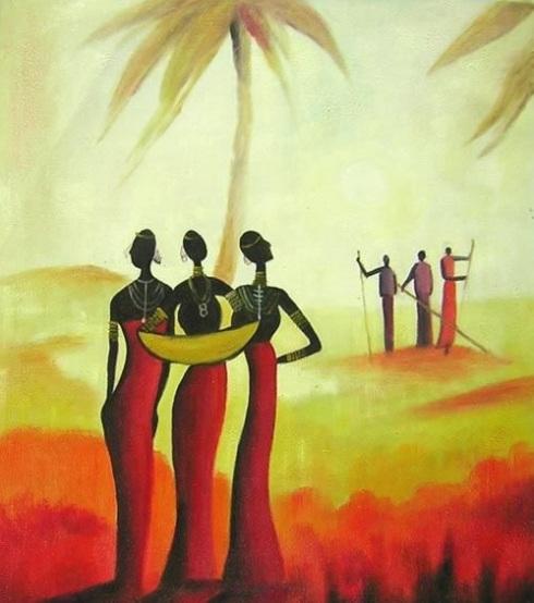 set  africano dipinto a olio su tela dim.50x60della Collezione Dipintrinmovimento