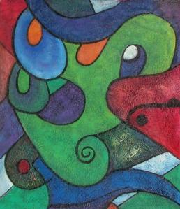 Astratto verde dipinto a olio su tela dim.50x60 della Galleria Dipintinmovimento