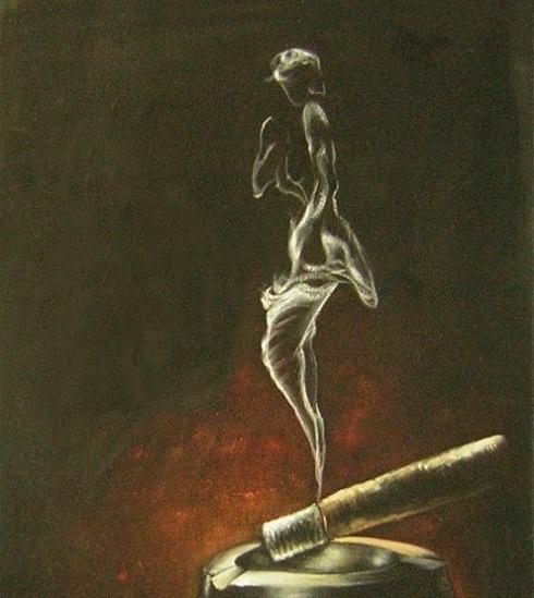 Donna di fumo con sigaretta dipinto a olio su tela dim.50x60 della Collezione Dipintinmovimento